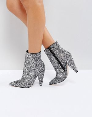 ASOS Silver Gliiter Ankle Boots