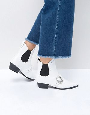 ASOS White Embellished Buckle Boot