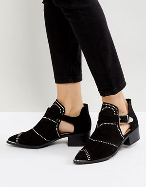 Missguided Black Cut Out Studded Ankle Boots