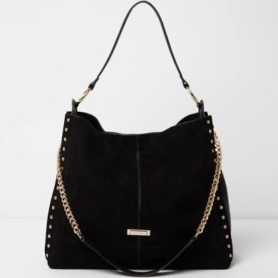 RI Black Studded slouch bag