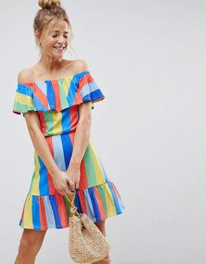 ASos Bardot Rainbow Striped Sundress
