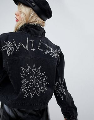 Asos black denim jacket with studs and embroidery