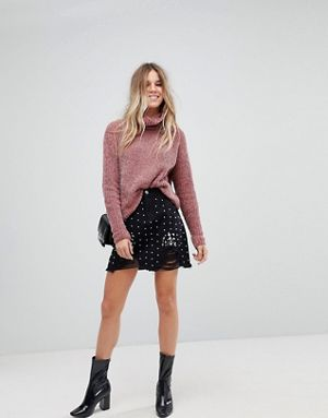 Boohoo Denim Pearl Mini Skirt