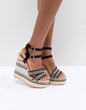 RI Striped Wedge Heeled Sandals