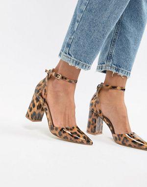 RAID Patent Leopard print Heeled Shoes