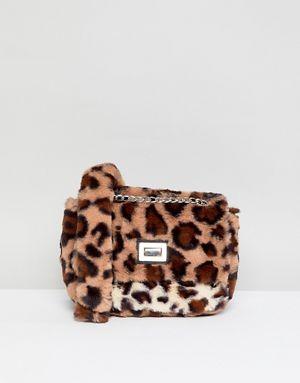 Stradivarius Leopard Print Faux Fur bag