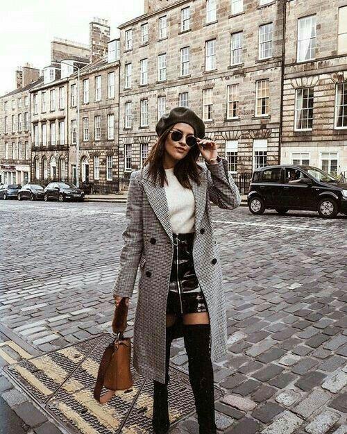 Checked coat, vinyl skirt and knee highs