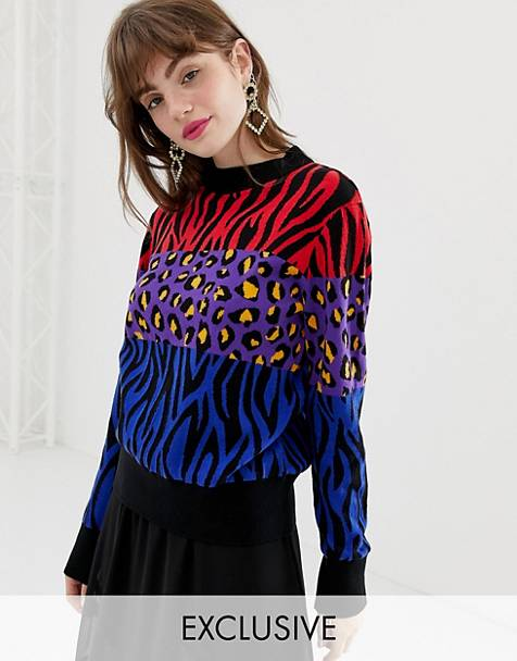 Monki Knitted Jumper in Mixed Animal Print