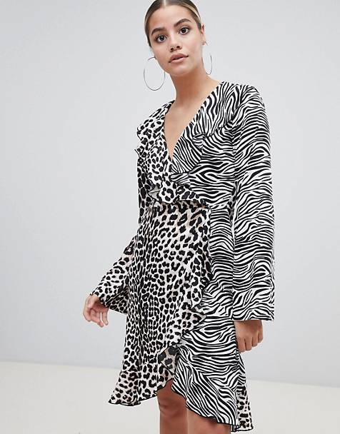 PLT Frill Wrap In mixed animal print